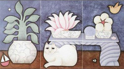 Summer Table, White Cat Triptych