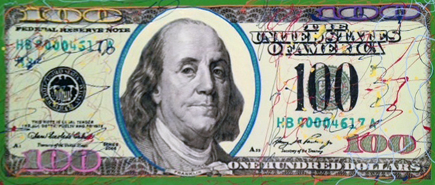 New $100 Bill Jackson Pollock Style Unique 2007