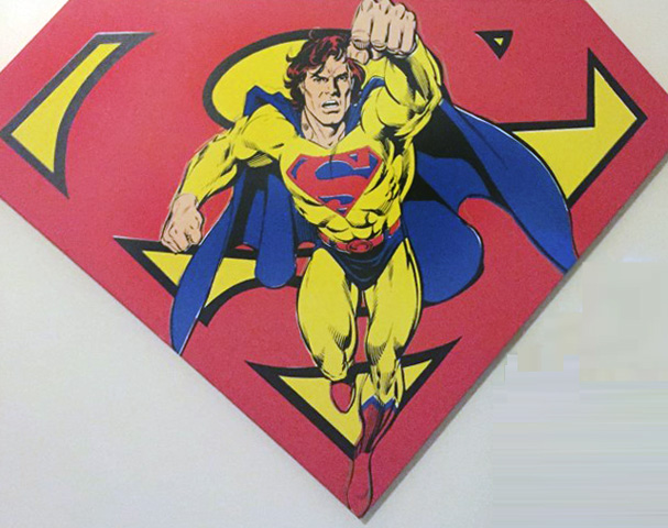 Superman Shield Reverse Colors Tapestry 1995 36x50 by Steve Kaufman