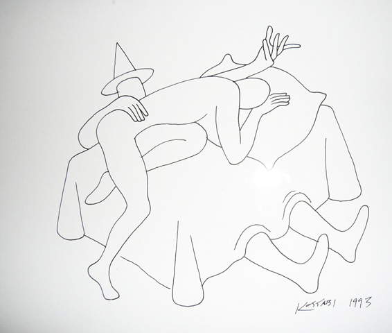 New Position Drawing 1993 by Mark Kostabi