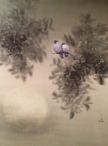 Lovebirds by Moonlight Watercolor