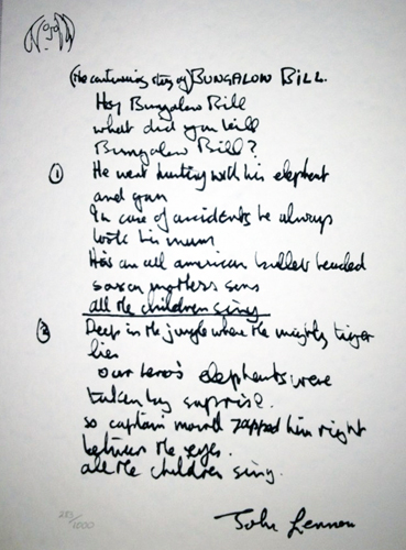 Bungalow Bill Lyrics 1995