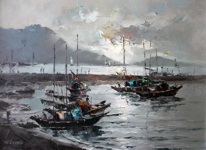 Hong Kong Sampans At Dusk 1960