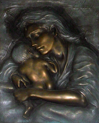 Caring Mother and Child Bronze Sculpture