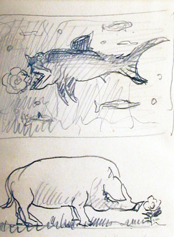 Pig with Rose and Fish Drawing 1942