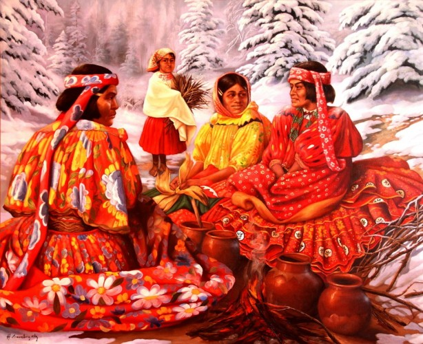 One Snowy Day 2002 39x48 by Hector Martinez