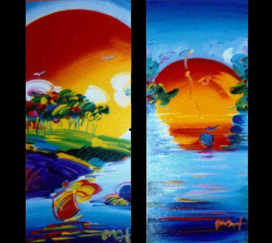 a better world ii and without borders pair 2008 by peter max original painting 2 original. Black Bedroom Furniture Sets. Home Design Ideas