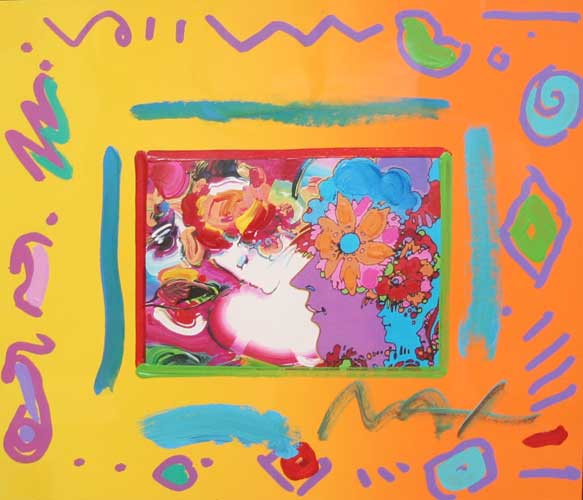 Flower Lady with 3 Profiles Collage 1998 Unique