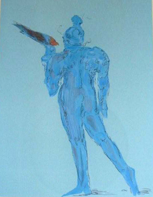 Circus Performer with Bird (early work 1972)