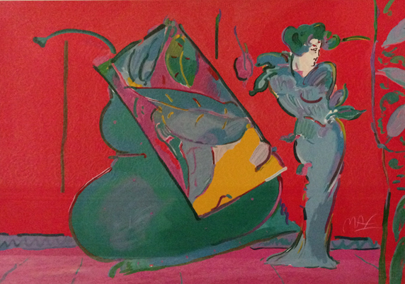 Lady on Red With Floating Vase 1989
