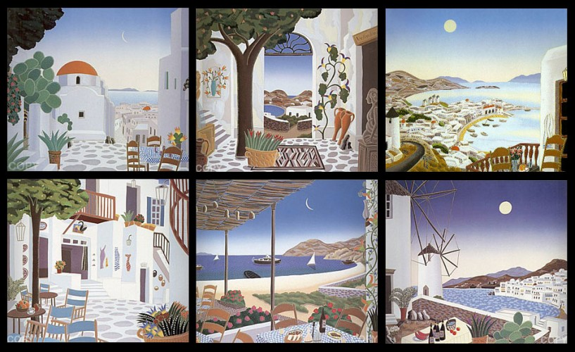 Mykonos Suite Revisited Suite of 6 In Portfolio (Mint in Silk Portfolio)