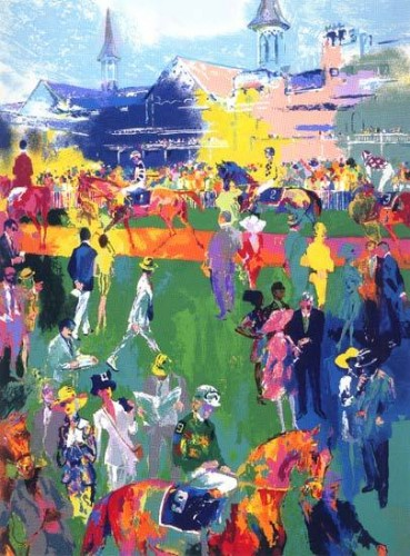 Derby Day Paddock 1997 by LeRoy Neiman