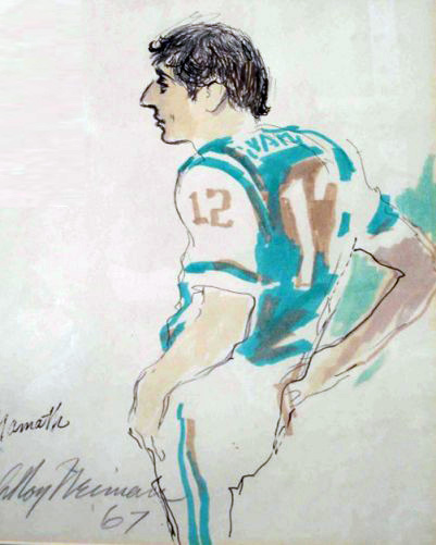 Joe Namath Watercolor 1967 by LeRoy Neiman