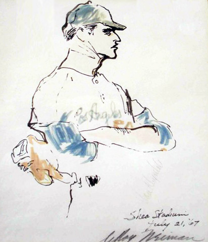 Don Drysdale Watercolors 1967 by LeRoy Neiman
