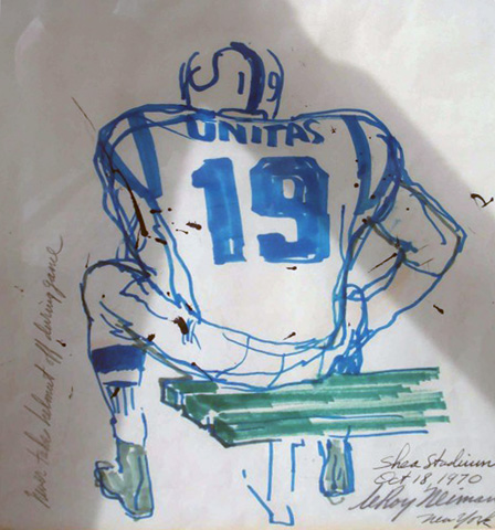 Johnny Unitas Watercolor 1970 by LeRoy Neiman