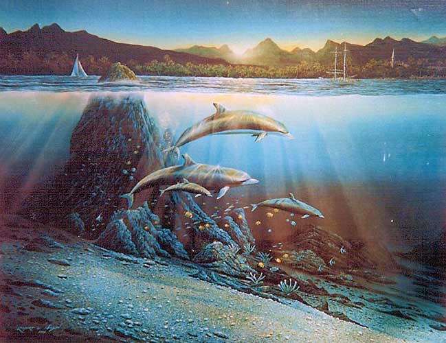 Untitled Dolphins Painting 1981