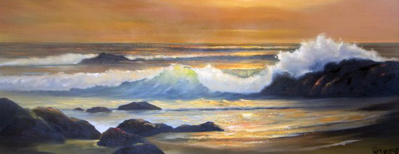Gold Sunset Seascape 1965 30x66
