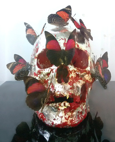 Vanity And Butterflies on Plexiglas Skull Sculpture 2007 Unique