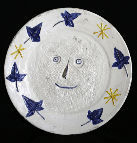 Face With Leaves Ceramic Plate (Ramie #324) 1956