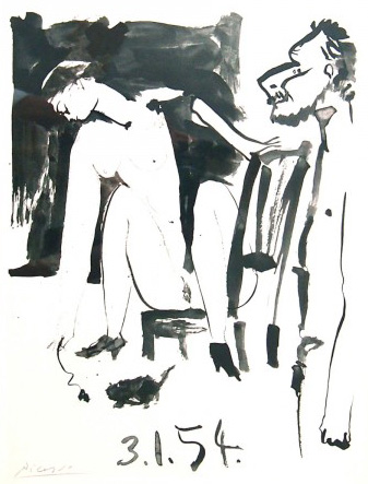 Artist and His Model Verve Illustration 3.1.54  1954