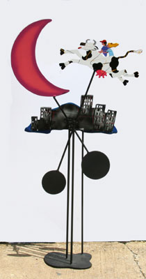 Cow Jumped Over the Moon Kinetic Metal Sculpture