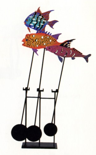Fish Stick Kinetic Metal Sculpture 1992