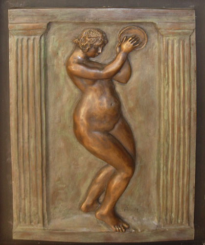 Dancer With Tambourine II Bas Relief Sculpture by Pierre Auguste Renoir