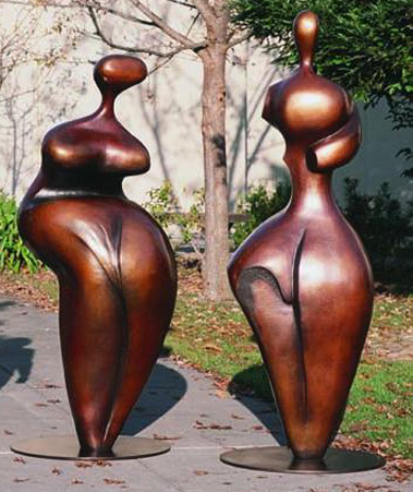 Adam And Eve (Large) Bronze Sculpture 1998 72 in high by Robert Holmes