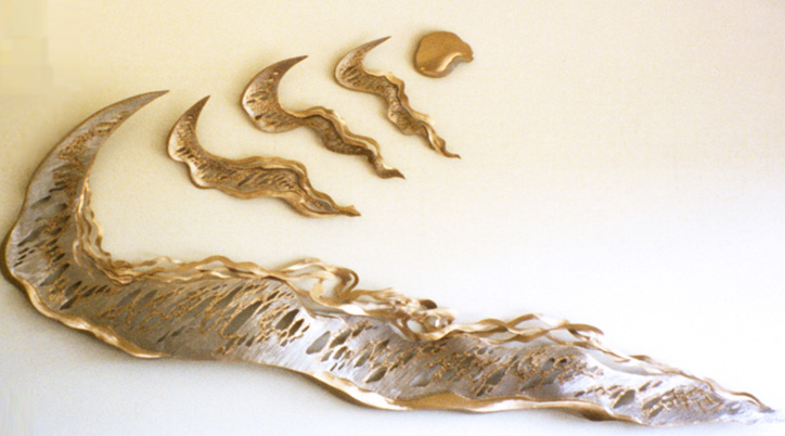 Sea Ribbons Stainless Steel and Bronze Sculpture