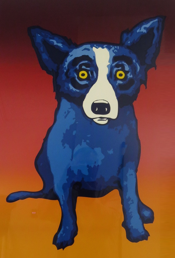 Blue Dog Silkscreen Glass