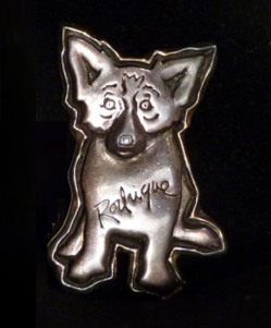 Sterling Silver With Gold Aura Blue Dog Pin