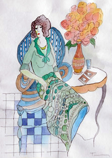 Lady Seated Watercolor
