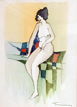 Sitting Nude Watercolor 2005