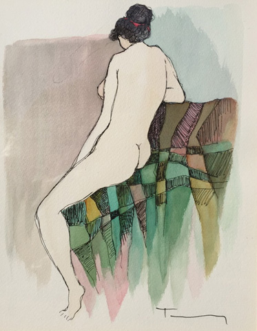 Posing Nude Watercolor 2005 by Itzchak Tarkay