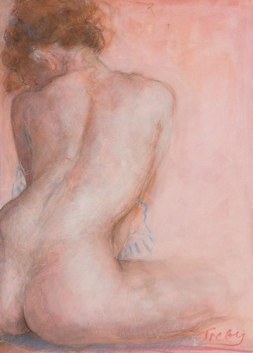 Pink Nude Watercolor 2012 17x12