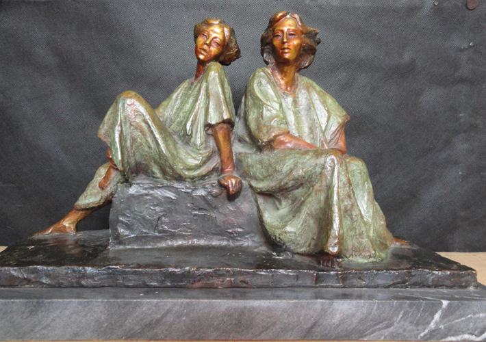 Two Women Sitting Bronze Sculpture