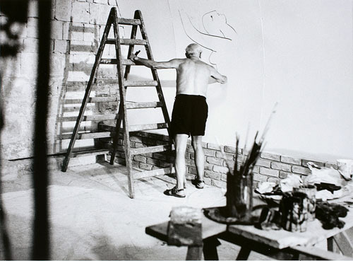 Picasso Working on the Fresco For the Film By Luciano Emmer II, 1953
