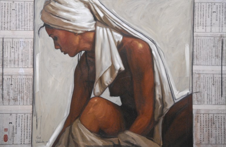 Seated Woman Between Pages of Time 2007 39x49