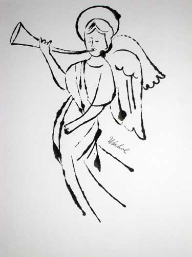 Authenticated drawing by Warhol Foundation, Angel