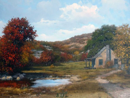 Cabin in the Hill Country Fall Landscape 1976