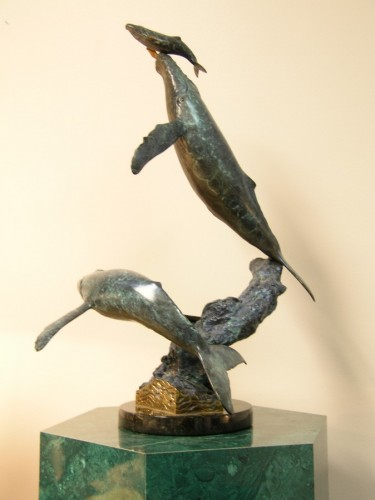 Cow Calf Cow Escort Bronze Sculpture  1997