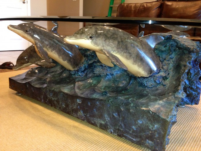 Wave Riders Bronze Table Sculpture 1992 by Robert Wyland