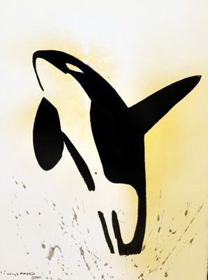 Orca Sumi-e Brush Art 2011 by Robert Wyland