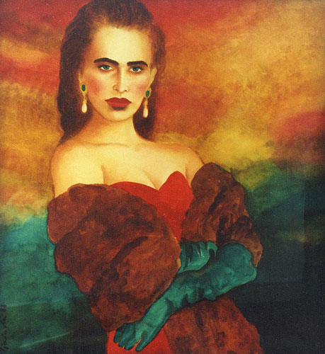 Red Dress Watercolor 1988