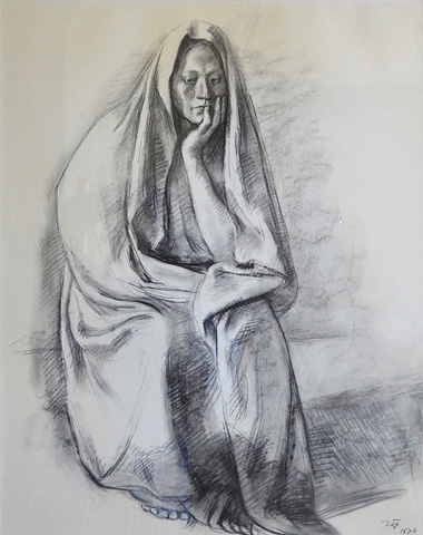 Seated Woman With Robe Drawing 1970