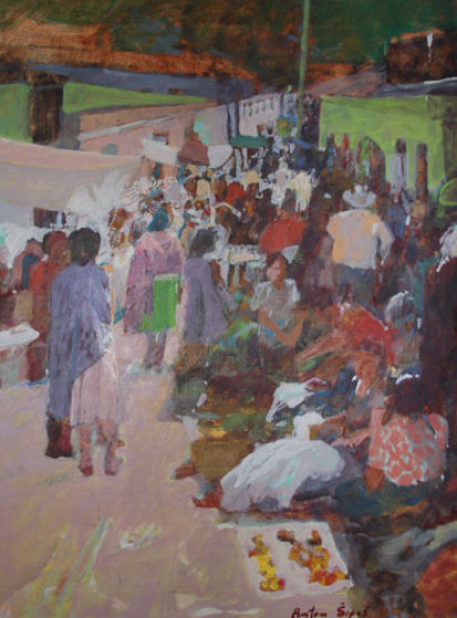 Mexican Village Market Scene 44551
