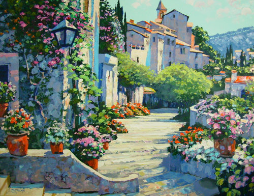 Oil Painting Courtyard By Bennett
