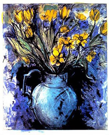 Blue Vase Yellow Flowers By Jim Dine