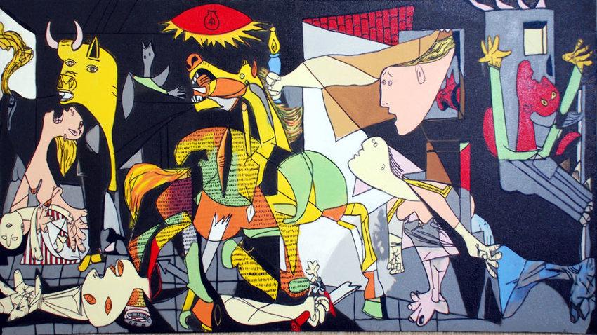 http://www.artbrokerage.com/artthumb/kaufman_37541_2/850x600/Steve_Kaufman_Homage_to_Picasso_Guernica.jpg